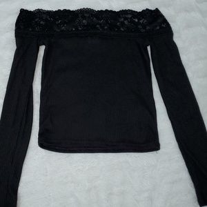 Black Long Sleeve Off the Shoulder Lace Top